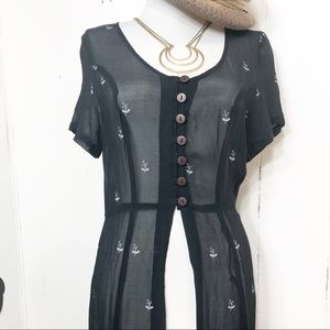 Victoria Holley Navy White Sheer Fitted Duster